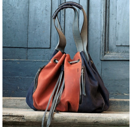 Marlena navy blue/orange handmade shopper bag natural high quality leather made by Ladybuq Art
