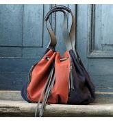 Marlena marineblau und orange originelle Einkaufstasche von Ladybuq Art
