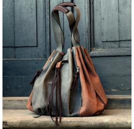 Marlena w kolorach jasny brąz/szary unikalna duża torba  z naturalnej skóry torebka od Ladbyuq Art
