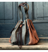 Marlena hellbraun / grau Naturleder handgefertigt Ladybuq Original Tasche