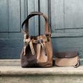 Jenny kolor beż/ciemny brąz unikalna torba z naturalnej skóry wysokiej jakości torebka od Ladybuq Art Studio