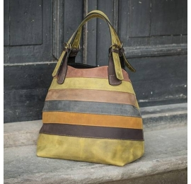 Handmade natural leather bag Alicja colorful stripes