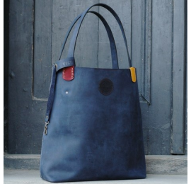 Zuza in Navy Blue colour with beautiful colourful accents, roomy bag for every occasion