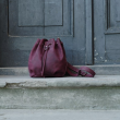 Leather rucksack in claret color perfect summer bag made by Ladybuq Art