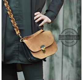 Bag with long crossbody strap and leather fittings in antique gold colour made by Ladybuq