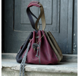 Marlena granatowy/buraczkowy/szary/khaki duża torebka od Ladybuq Art idealna na zakupy