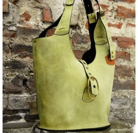 Big sturdy handmade natural leather tote bag designed and made by Ladybuq Art