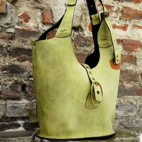 natural leather big sturdy handmade tote bag made by Ladybuq Art Studio