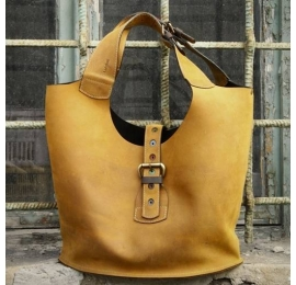 Handmade natural leather urban style tote bag designed and made by Ladybuq Art