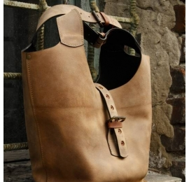 Handmade natural leather big tote bag in unique colour made by Ladybuq Art