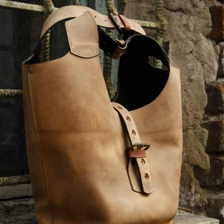 Handmade natural leather purse oversize style bag made by Ladybuq Art