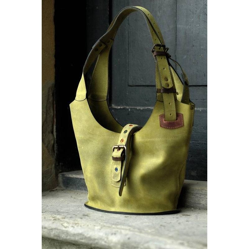 4a71241f992d9 Torebka skórzana Ladybuq w kolorze limonki z długimi paskami i zamkiem  rozmiar S ...