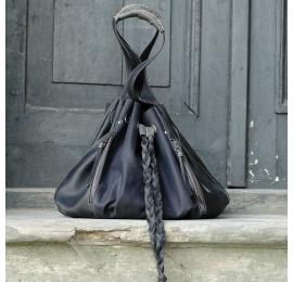 Marlena kolor ciemnoszary i grafitowy unikalna duża torba idealna na zakupy od polskich projektantów Ladybuq Art Studio