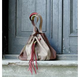 Marlena beż z brązem unikalna torba na zakupy w pięknych kolorach z naturalnej skóry