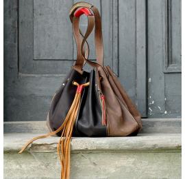 Marlena brązowo - czarna unikalna duża torba idealna na zakupy torebka od Ladybuq Art Studio