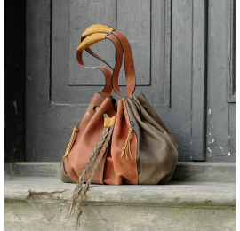 Marlena Khaki and Ginger beautiful handmade natural leather shopping tote bag made by Ladybuq Art Studio