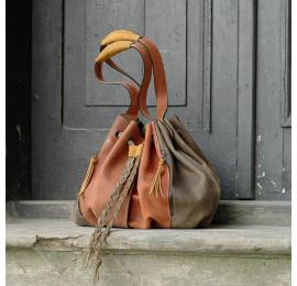 Marlena khaki i rudy torebka ręcznie wykonana z naturalnej skóry od Ladybuq Art duża torba na zakupy
