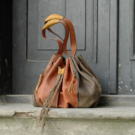 Marlena four colors handmade natural leather tote bag made by Ladybuq Art Studio unique big shopping bag
