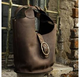 Torba z naturalnej skóry ręcznie robiona wytrzymała duża torba od Ladybuq Art