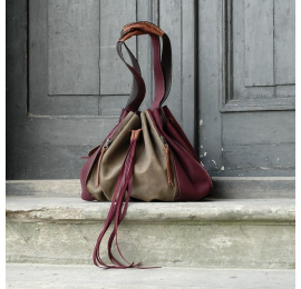 Marlena in beautiful Khaki and Claret colours handmade natural leather bag made by Ladybuq Art Studio