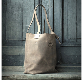 Perfect shopper bag Zuza in Beige colour, bag made out of fragrant, natural leather with beautiful colorful additives near strap