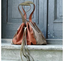 Marlena Orange and Beige coloured natural leather unique and original shoulder shopping bag