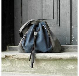 Marlena granatowo - szara torebka od ladybuq art studio duża pojemna torba na ramię