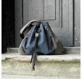 Marlena navy blue and grey handmade natural leather office, laptop, shopping multifunctional bag made by Ladybuq