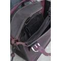 Kuferek z kopertówką śliwka i czarny. Torebka skórzana ręcznie robiona Ladybuq Art Studio