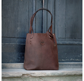 Zuza in Brown colour bag made by Ladybuq Art oversize style hand sewed bag made out of beautiful natural leather