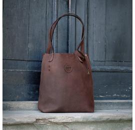 Zuza w kolorze Brązowym torebka od Ladybuq Art w stylu oversize ręcznie szyta torebka wykonana z pięknej naturalnej skóry