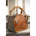 Kuferek handmade bag with a clutch khaki and grey natural leather product