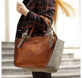 Kuferek skórzany z kopertówką rudo szary torba torebka skórzana ręcznie robiona Ladybuq Art Studio