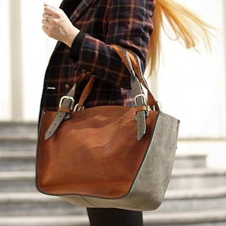 Kuferek z kopertówką rudo szary torba torebka skórezana ręcznie robiona Ladybuq Art Studio