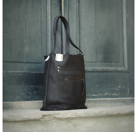 Zuza laptop bag in Black colour with White accents, perfect office tote bag made by Ladybuq Art Studio