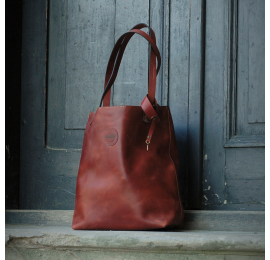 Zuza in Dark Ginger colour with antique gold coloured leather fittings, high quality natural leather bag from Ladybuq Art