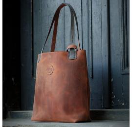 Oryginalna skórzana torba Zuza w unikalnym Rudym kolorze torebka od Ladybuq Art