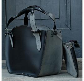Kuferek ręcznie robiony skórzany z kopertówką czarny półmat i szary