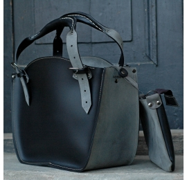 Tote bag handmade with a clutch semi-matte black and grey