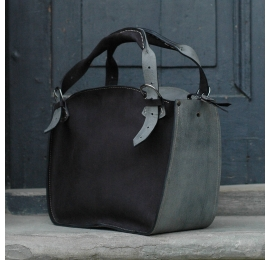 Handmade natural leather tote bag with a clutch matte black and grey