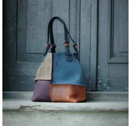 Leather bag Alicja handmade four colors Ultimate Edition dark blue.