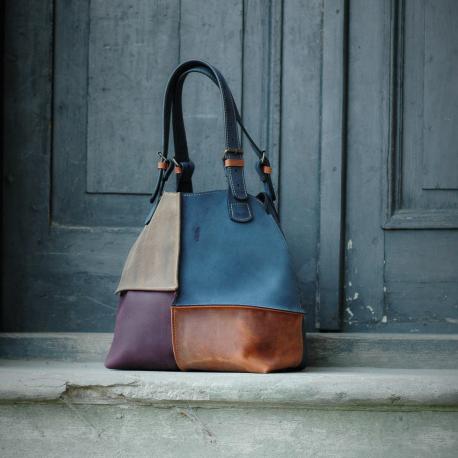 cztero kolorowa torebka alicja ręcznie wykonana skórzana torebka torba