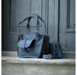 Leather bag Ultimate Edition Kuferek Smaller Navy Blue made by Ladybuq