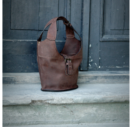 Oversize style bag in Brown colour handmade out of high quality natural leather made by Ladybuq Art