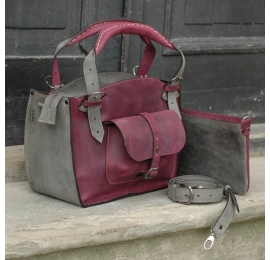 Handmade tote bag made out of high quality natural leather in claret and grey colours with clutch and a strap