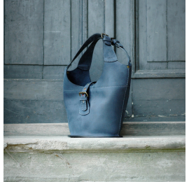 Handmade natural leather bag from Ultimate Edition Collection Ladybuq Bag in Navy Blue color