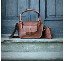Original leather bag Ultimate Edition Kuferek Smaller Ginger and Brown made by Ladybuq