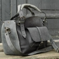 Kuferek ręcznie wykonana torba torebka z kieszonką paskiem i kopertówką szary