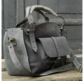 Tote bag with a pocket, a strap and a clutch, grey handmade leather purse