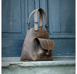 Natural leather bag Alicja Ultimate Edition large tote bag color brown.